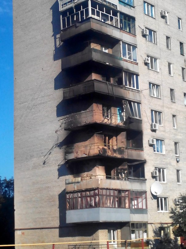 Дом, в котором раньше жила Оксана в Иловайске после попадания снаряда