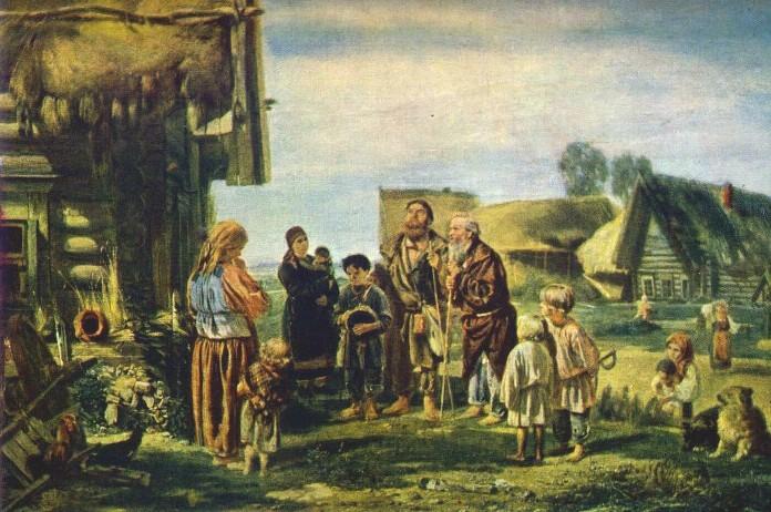 Калики перехожие Автор Прянишников И. М. 1870 год. Третьяковская галерея