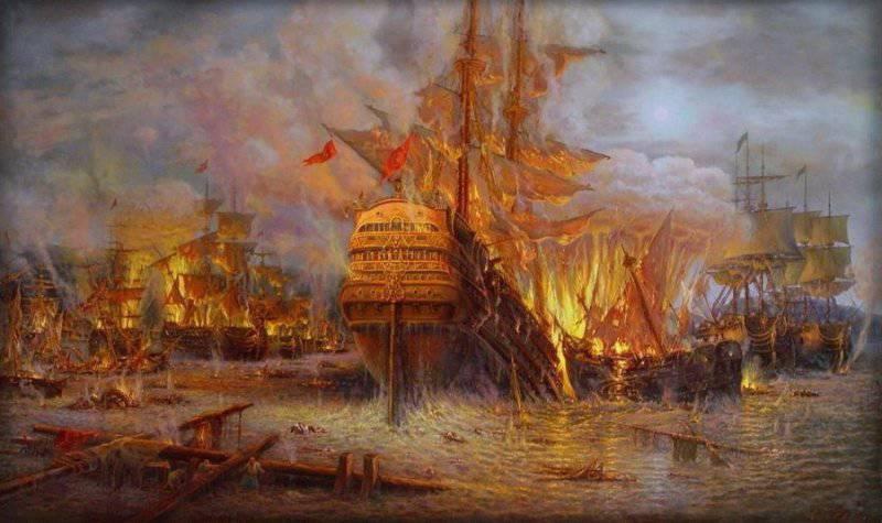 Чесменское морское сражение в 1770 году Изображение, картина С.Панина