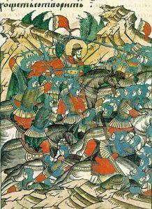 Невская-битва.-Миниатюра-из-Лицевого-летописного-свода.-XVI-век